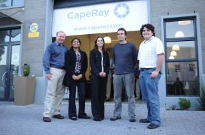 CEO Kit Vaughan, far left, with his team: software engineer Susan Alexander, business manager Natasha Steele, senior design engineer Michael Evans, and electronics engineer Benjamin Lunsky.