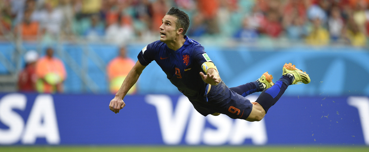 Robin van Persie's header against Spain is a sublime moment in World Cup 2014. ©  The New Republic.