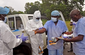 Ebola health care workers in Liberia. © AP