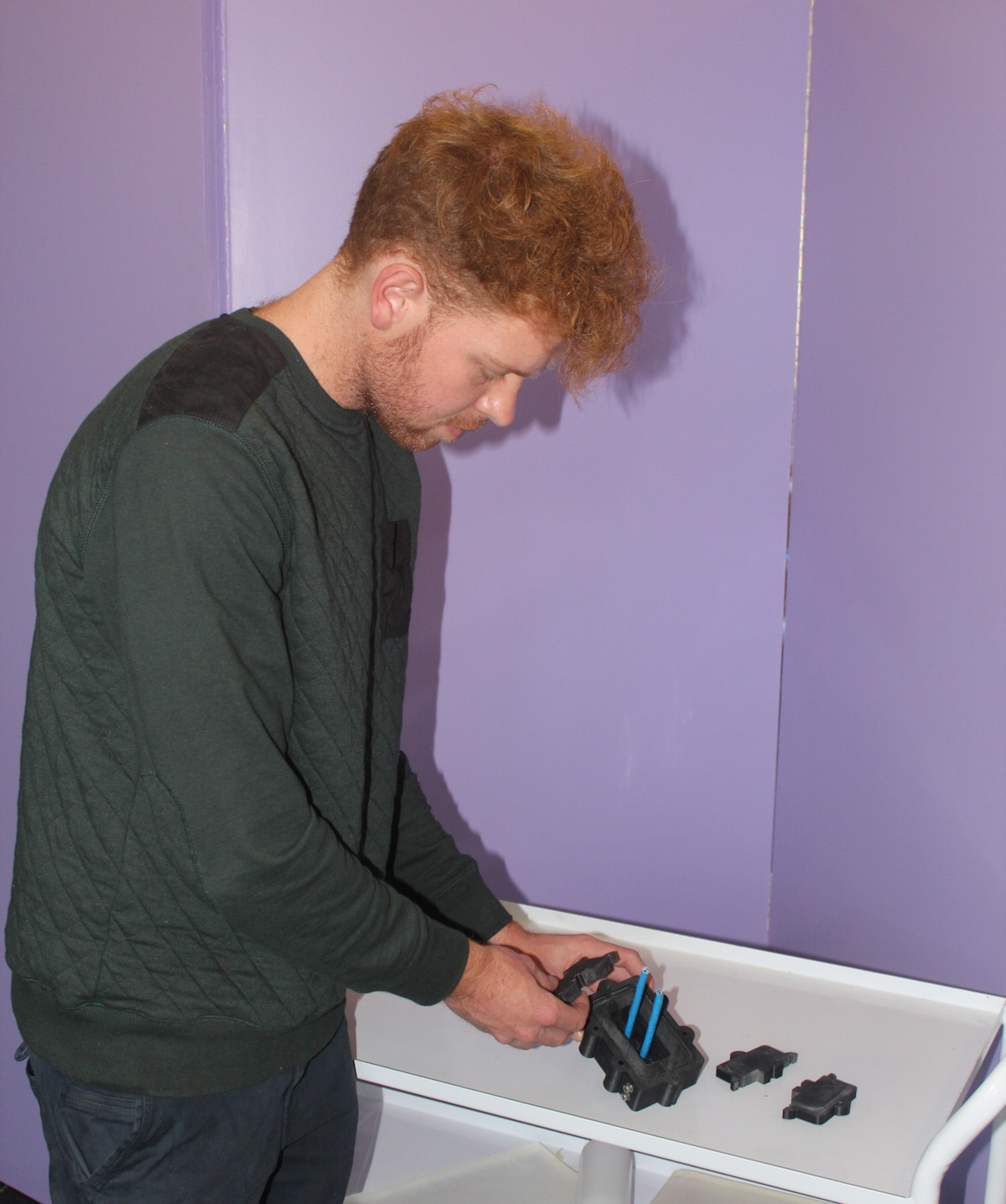 Jono Makepeace inspects his printed mould